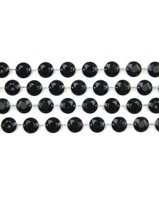 Krištáľová girlanda, čierna, 1m