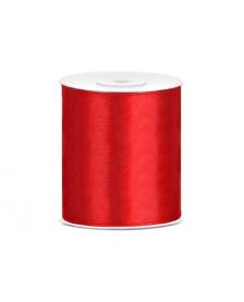 Saténová stuha, červená, 100 mm / 25 m