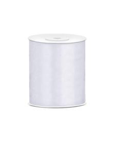 Saténová stuha, biela, 100 mm / 25 m