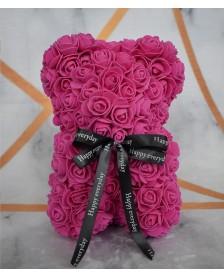 Macko z ruží 25 cm tmavoružový