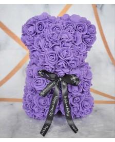 Macko z ruží 25 cm fialový