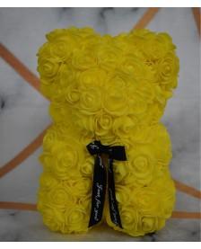 Macko z ruží 25 cm žltý