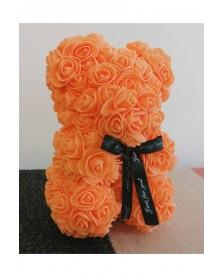 Macko z ruží 25 cm oranžový