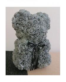 Macko z ruží 25 cm šedý