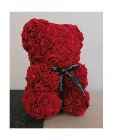 Macko z ruží 25 cm vínový
