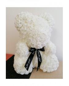 Macko z ruží 40 cm biely