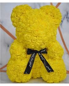 Macko z ruží 40 cm žltý