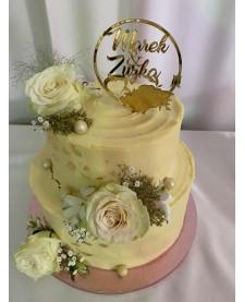 Zlatý zrkadlový zápich do torty