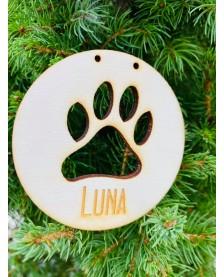 Vianočná guľa - otlačok labky psíka
