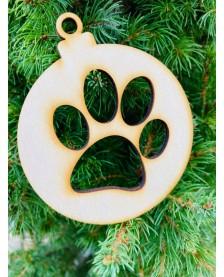 Vianočná guľa - odtlačok labky psíka