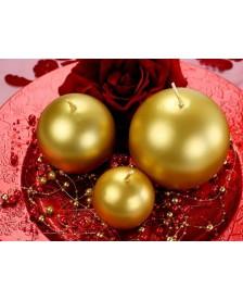 Guľatá sviečka, zlatá, 8 cm