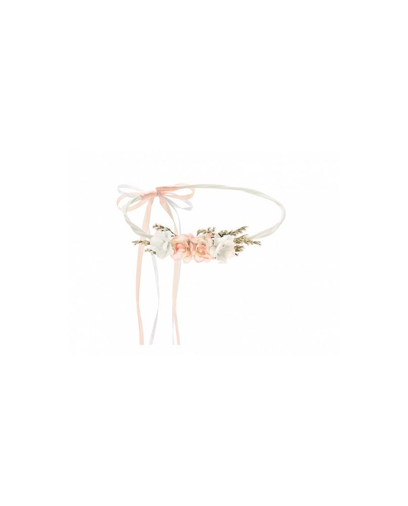 Kvetinová čelenka svetlá broskyňová