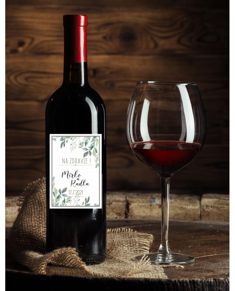 Etiketa na víno - listy
