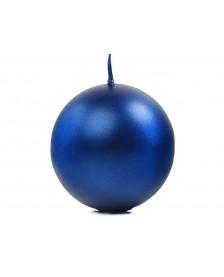 Guľa metalizovaná, tmavo modrá, 8cm