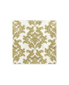 Obrúsky, biele / zlaté, 33 x 33 cm