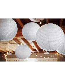 Papierový lampión, biela farba, 35 cm