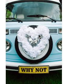 Výzdoba na svadobné auto Kvetinové srdce prázdne, biele, 50 cm