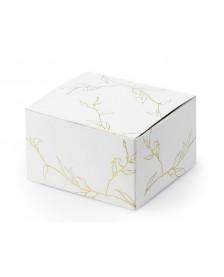 Papierová krabička biela so vzorom zlatých vetvičiek, 6 x 3,5 x 5,5 cm