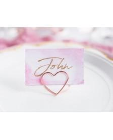 Stojany na menovky Srdce, ružové zlato, 2,5 cm