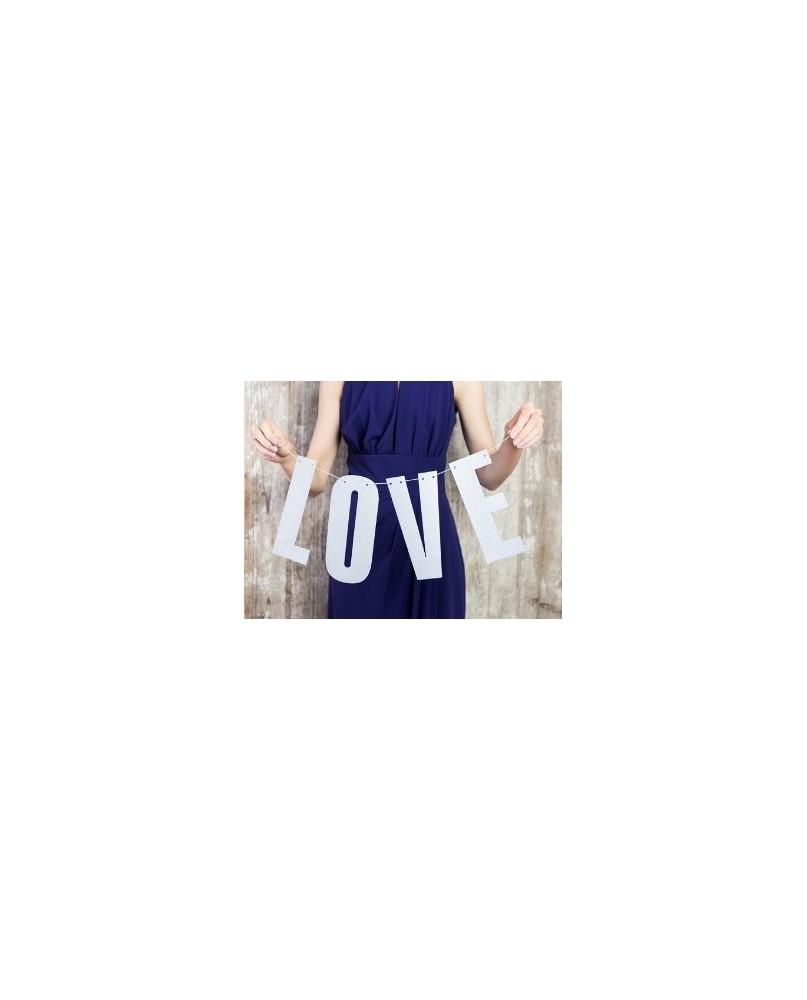 Banner LOVE, striebornej farby, 21x55cm