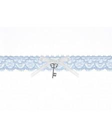 Čipkovaný podväzok modrý s kľúčom