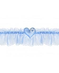 Šifónový podväzok so srdcom, modrý