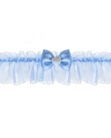 Šifónový podväzok s mašličkou, modrý