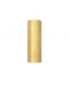 Trblietavý tyl, zlato, 0,15 x 9 m