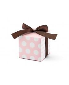 Krabička v kombinácií ružových a bielych bodiek