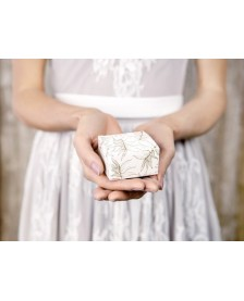Biela krabička so zlatými listami 6 x 3,5 x 5,5 cm